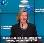 Mogherini Lächeln in der Pressekonferenz