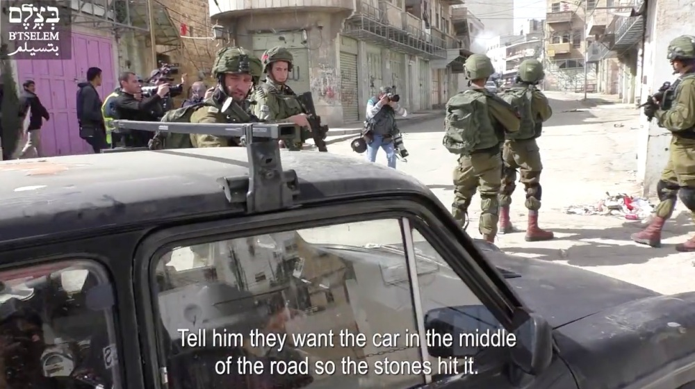 Screengrab Hebron car forced into clashes
