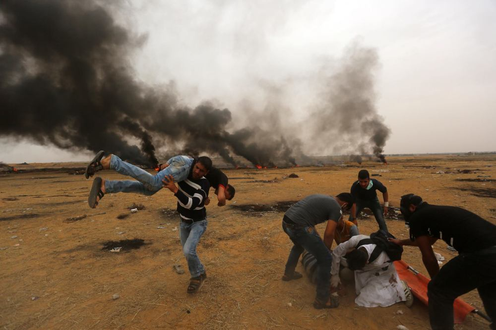 Gaza wounded carried away qudsn