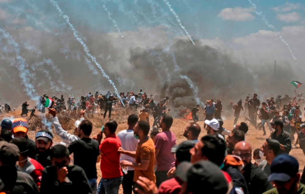 Teargas attacks from above Gaza
