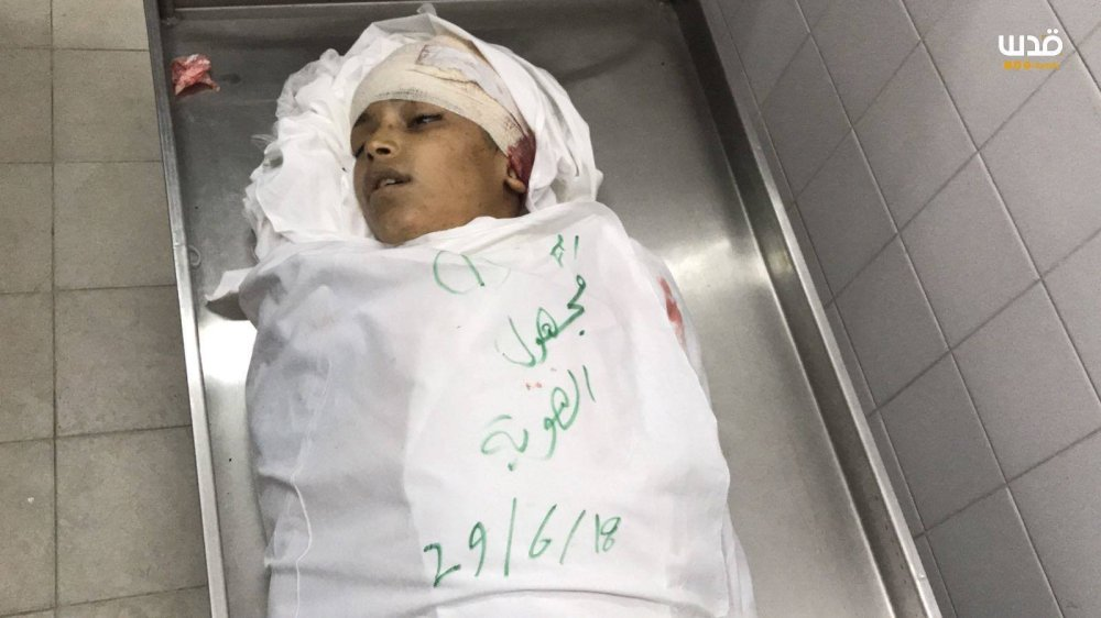 Yasser Abu Al-Naja, 13, was killed today by Israeli snipers